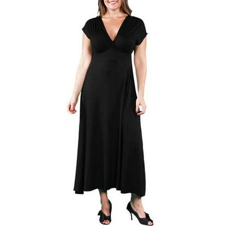 3a844c3e48e 24 7 Comfort Apparel - Women s Plus Faux Wrap Maxi Dress - Walmart.com
