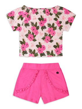 Limited Too Girls Floral Smocked Shirt and Ruffled Shorts, 2-Piece Outfit Set with Headband Sizes 7-12