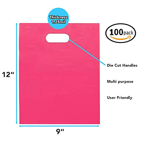 "100 Pack 9"" x 12"" with 1.25 mil Thickness Pink Merchandise Plastic Glossy Retail Bags 