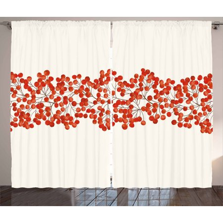 Painted Twig (Rowan Curtains 2 Panels Set, Border with Wild Red Mountain Ashes on Twigs Hand Painted Natural Artwork Print, Window Drapes for Living Room Bedroom, 108W X 90L Inches, Red and White, by Ambesonne)