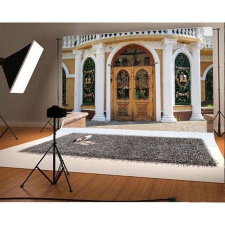 GreenDecor Polyester Fabric Carved Wood Door Backdrop 7x5ft Photography Backdrop Pierced Arch Window Pillar Building Studio Photos Video Props Children Baby Kids Portraits