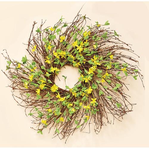 Forsythia wreath yellow - Worth Imports 24 Forsythia Twig Wreath Walmart Com
