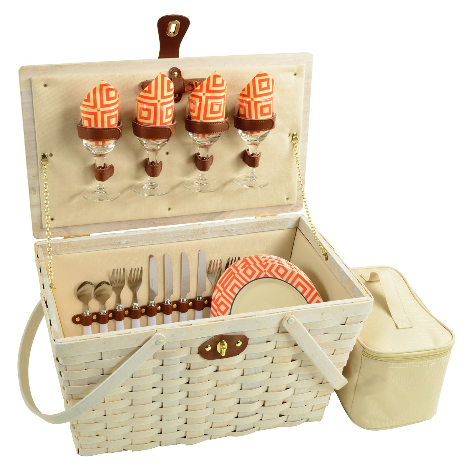 Picnic at Ascot 4 Person Settler Traditional American Picnic Basket with Blanket by Picnic at Ascot