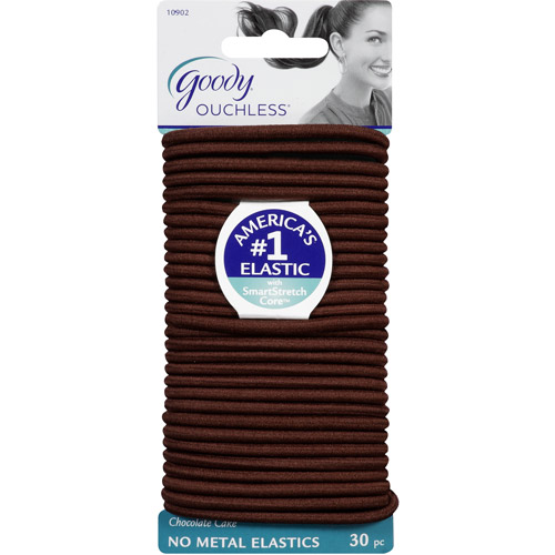 Goody Ouchless No Metal Elastics, Chocolate Cake, 30 count