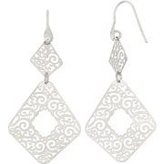 Rhodium-Plated Sterling Silver Geometric Shape Cut-Out Dangle Earrings