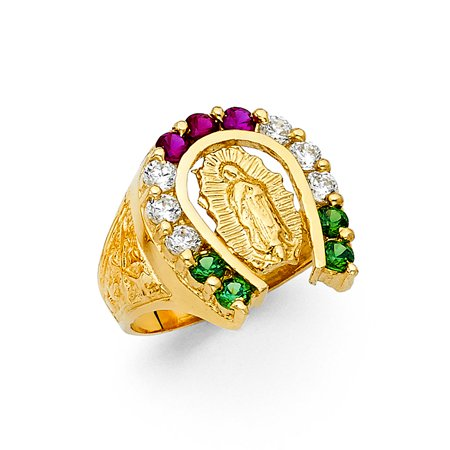 14K Yellow Solid Gold 20MM Cubic Zirconia CZ Colorful Horseshoe Virgin Mary Men's Ring - (Filigree Horseshoe)