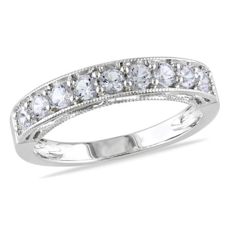 Sterling Silver Created White Sapphire Stackable Anniversary Band Ring