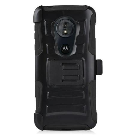 For Motorola Moto E5 Case Advanced Armor Hybrid Phone Cover w/ Holster (Black/Black)