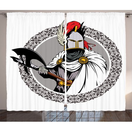 Medieval Decor Curtains 2 Panels Set, Illustration Of The Medieval Knight With Traditional Costume And Ancient Mask Heroic Past, Living Room Bedroom Accessories, By Ambesonne (Medieval Knight Mask)