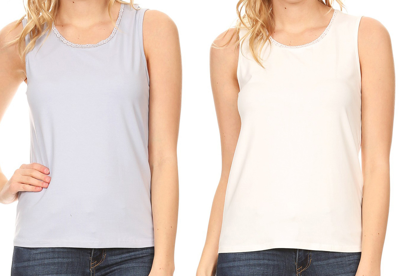 Alizeal Womens Basic Solid Camisole Stretch Casual Tank Tops