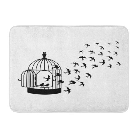 SIDONKU Silhouettes A Flock Birds Flying Crows Swans Bird Cages Illustrator Doormat Floor Rug Bath Mat 30x18 inch