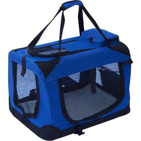 ALEKO PCBLUE02S Collapsible Pet Carrier Heavy Duty Portable Pet Home Spacious Traveler with Soft Cozy Insert Mat, Blue