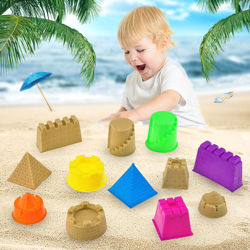 6Pcs/set Novelty Indoor/Outdoor Beach Toys Building Castle Mold Magic Sand Toys Gift for Kids