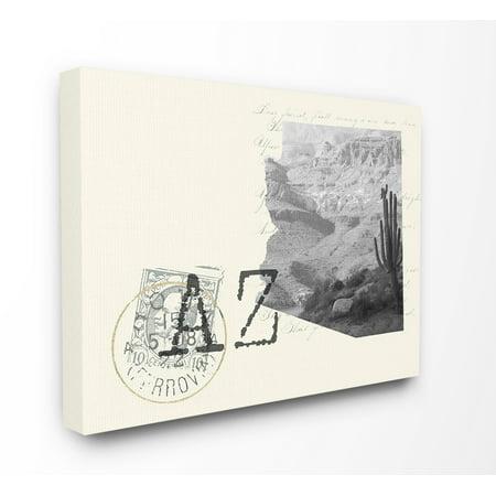 The Stupell Home Decor Arizona Black and White Photograph on Cream Paper Postcard Canvas Wall Art