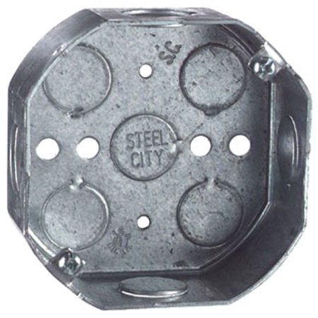 Steel City 54151-3/4 Outlet Box, Octagon, Drawn Construction, 4-Inch Diameter by 1-1/2-Inch Depth, Galvanized, 50-Pack (Outlet City Of Commerce)