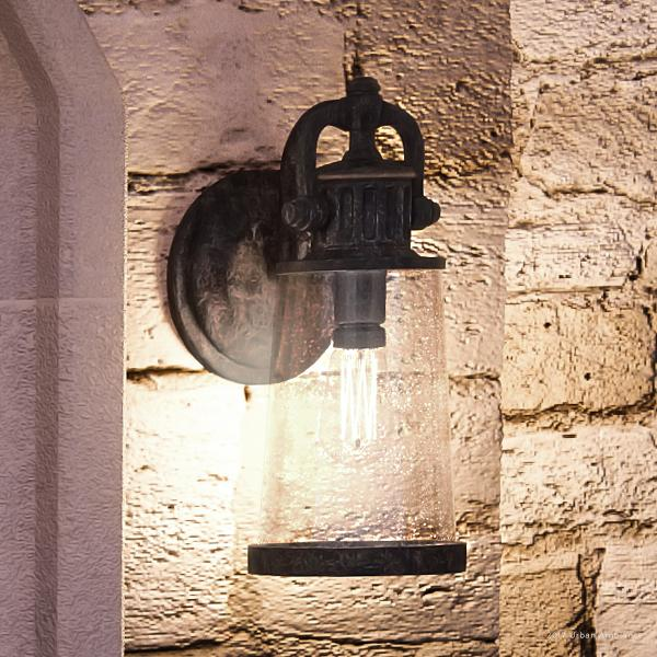 """Urban Ambiance Luxury Vintage Outdoor Wall Light, Medium Size: 16""""H x 6.75""""W, with Industrial Style Elements, Historic Design, Royal Bronze Finish and Seeded Glass, Includes Edison Bulb(s), UQL1221"""