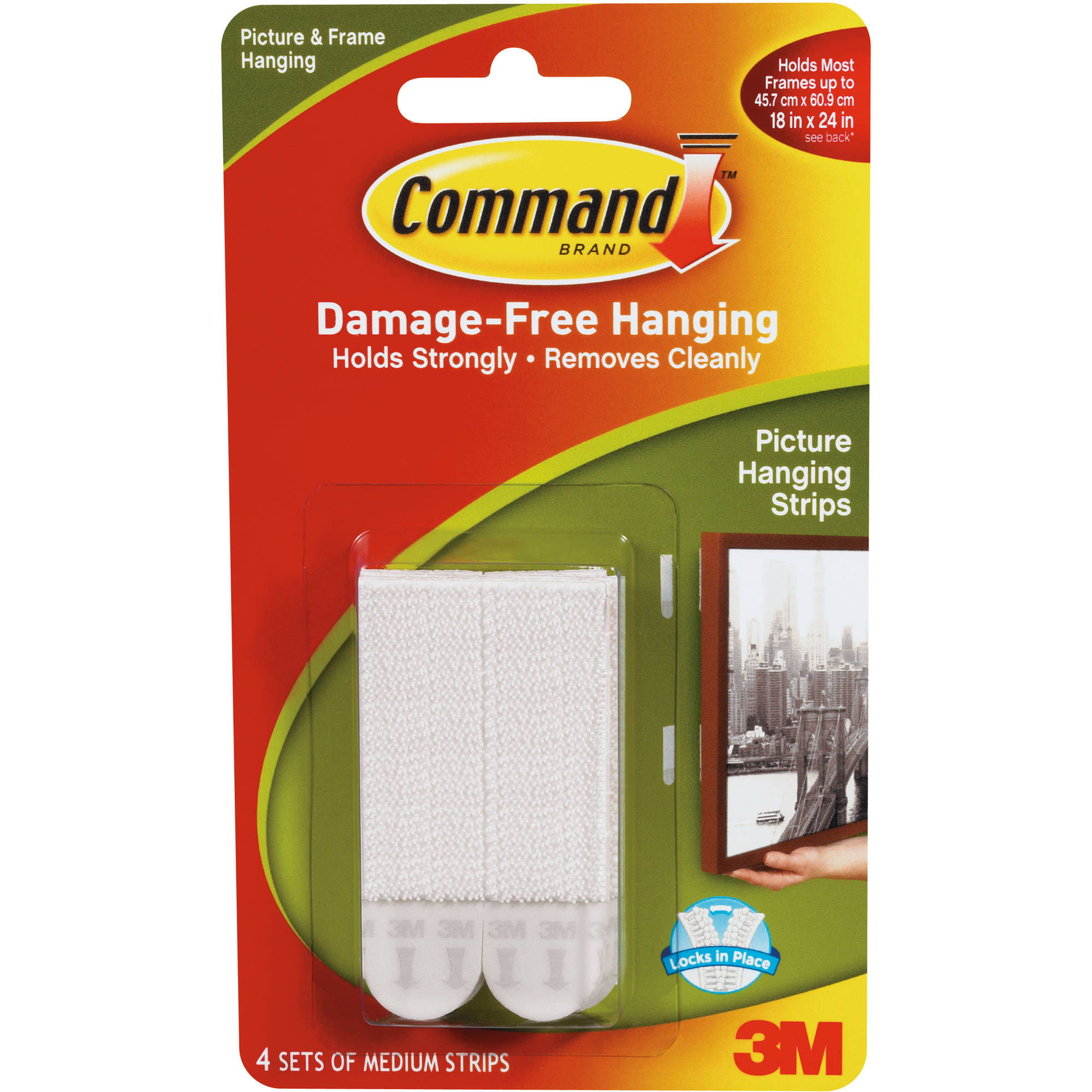 Command Medium Picture Hanging Strips, White