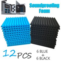 12PCS  Soundproofing Foam Tiles Acoustic studio equipment Anti Noise Sound-Absorbing Foam Fire Retardant Tile Acoustic Foam KTV Accessories 12*12 inch(Blue+Black)