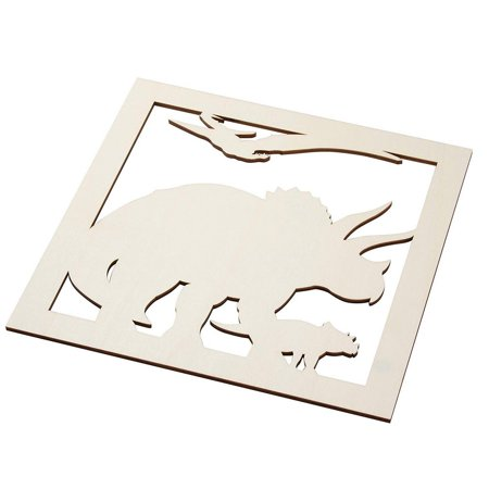 2-Piece Unfinished Wooden Triceratops Dinosaur Cutout, Wall Art Decor For Painting, Diy Wood Crafts, And Signs, 11.6 X 0.2 Inches