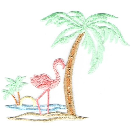 Flamingo - Palm Tree - Ocean Scene - Iron on Applique - Embroidered Patch