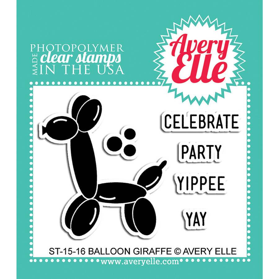 "Avery Elle Clear Stamp Set, 2"" x 3"", Balloon Giraffe"
