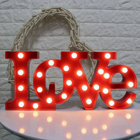 Outgeek Romantic Love Light Sign Creative 3D LOVE Shape LED Night Light Marquee Sign Decorative Light for Wedding Valentine's Day Party Bedroom Home Decor