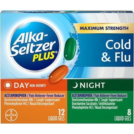 Alka-Seltzer Plus Day & Night Multi-Symptom Cold & Flu, Liquid Gels, 20 ct Alka Seltzer Antacid Medicine