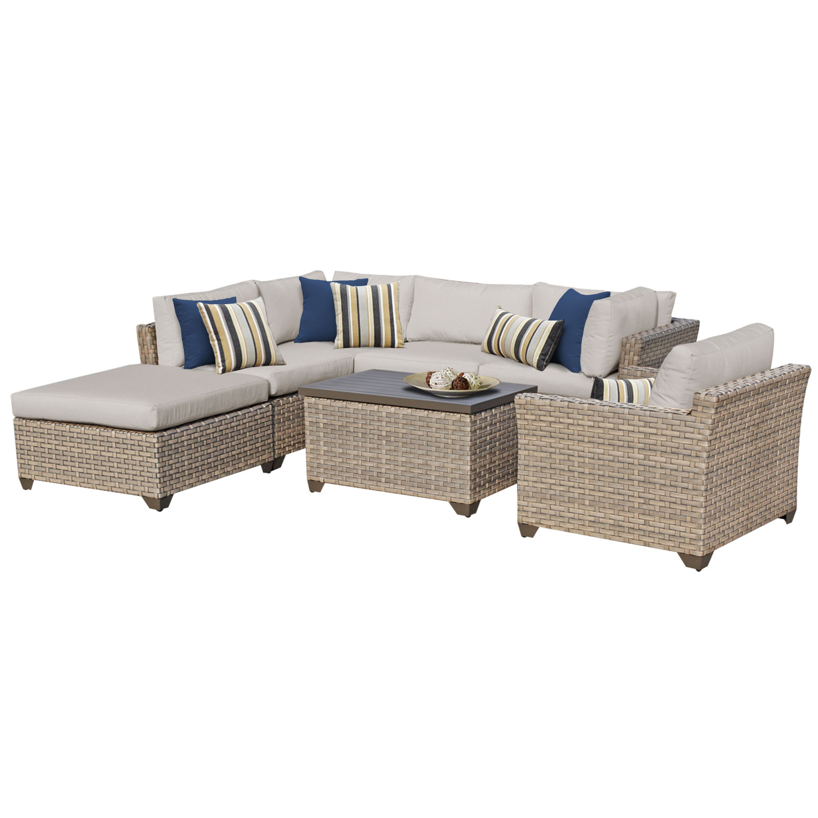 Hampton 7 Piece Outdoor Wicker Patio Furniture Set 07d