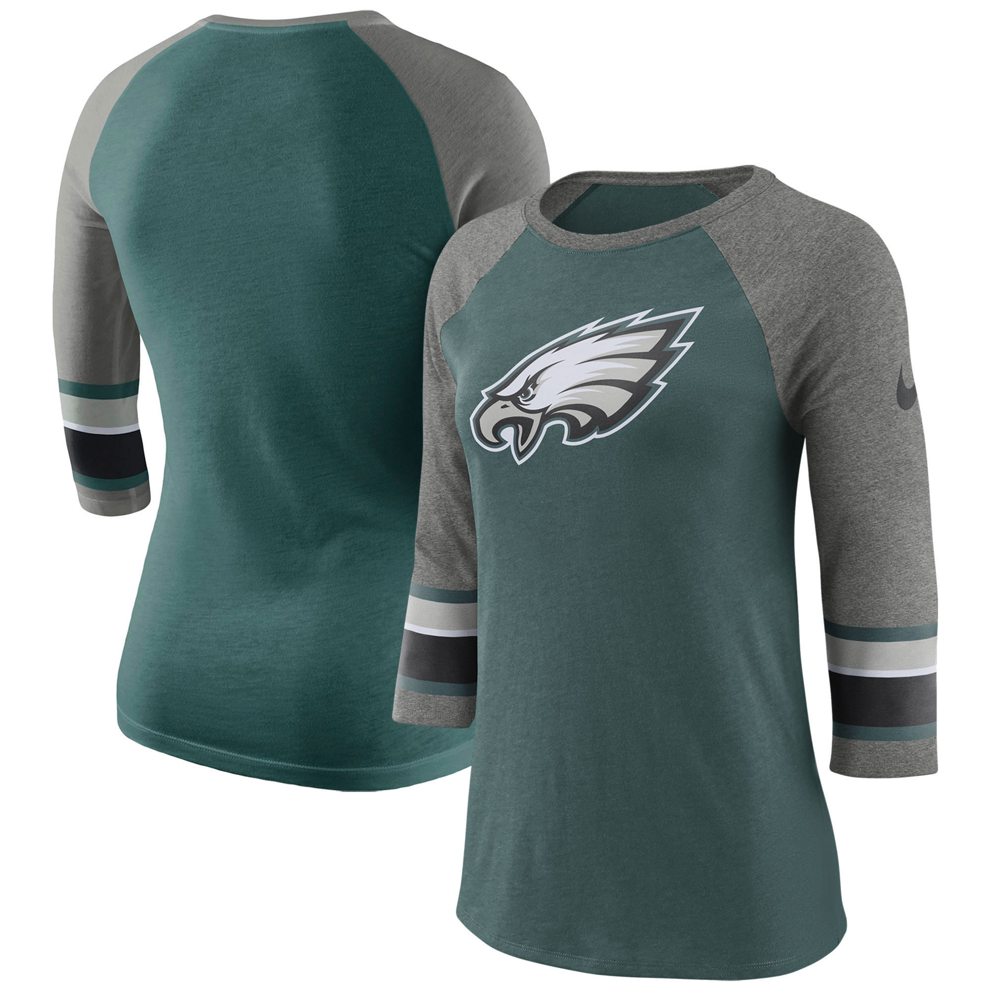 Philadelphia Eagles Nike Women's Stripe 3/4-Sleeve Raglan Tri-Blend T-Shirt - Midnight Green