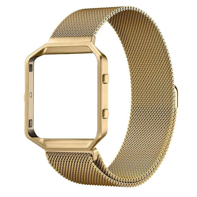 Element Works EW-FBMLLG-GD Milanese Loop Band with Frame for Fitbit Blaze, Gold - Large