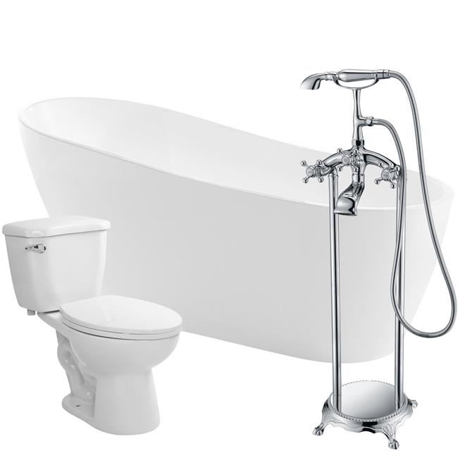 Anzzi FTAZ093-52C-55 Trend 67 in. Acrylic Flatbottom Non-Whirlpool Bathtub in White with Tugela Faucet & Kame 1.28 GPF Toilet