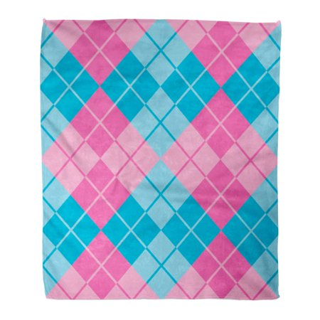 600 Denier Turnout Blanket (SIDONKU Throw Blanket Warm Cozy Print Flannel Plaid Argyle Pattern in Pink and Blue Abstract Classic Clip Colors Contrast Comfortable Soft for Bed Sofa and Couch 50x60 Inches)
