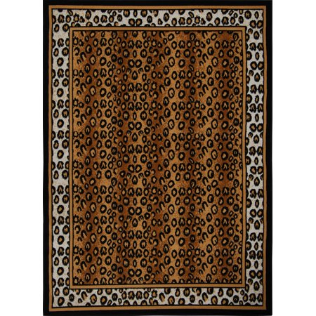 Home Dynamix Zone Area Rugs - 56-502 Animal Print Bordered Leopard African Exotic Rug