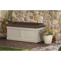 Suncast 99 Gallon Light Taupe and Mocha Resin Storage Seat Deck Box