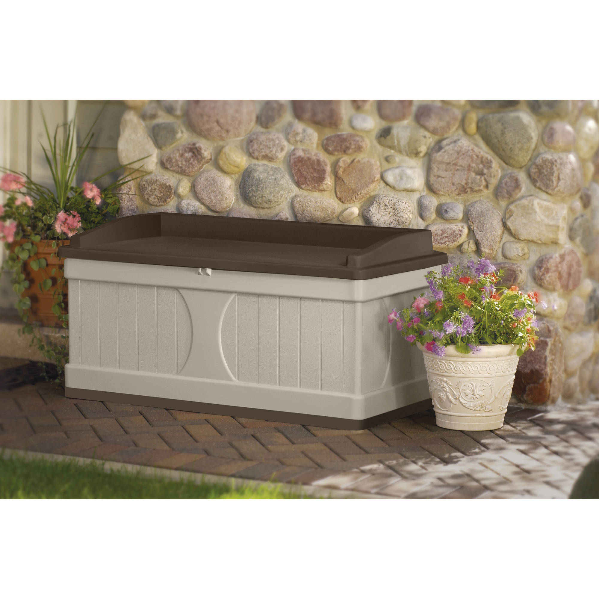 Suncast 99 Gallon Light Taupe and Mocha Resin Storage Seat Deck Box DB9500CT