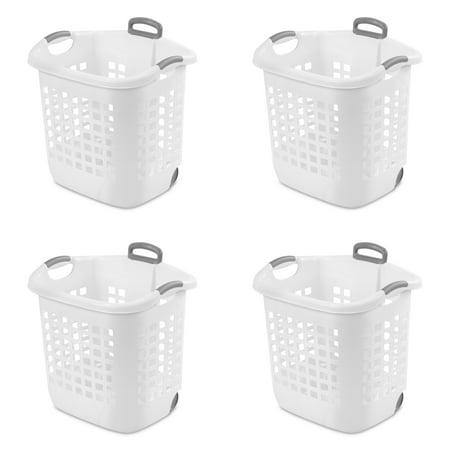 Sterilite 1.75 Bushel (62 L) Ultra Wheeled Laundry Basket, White, Case of 4 ()