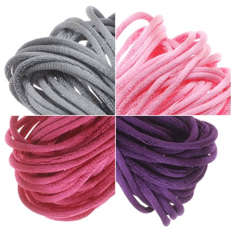 Satin Rattail Cord 1mm Pink Purple Mix 4 Color 6 Yd Ea Silver Grey Hot
