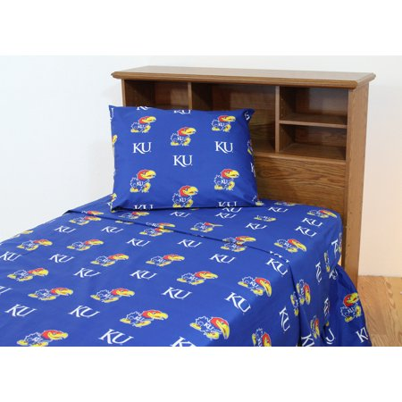 Kansas Jayhawks Mat - Kansas Jayhawks 100% cotton, 4 piece sheet set - flat sheet, fitted sheet, 2 pillow cases, Full, Team Colors