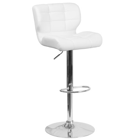 Flash Furniture Contemporary Tufted Vinyl Adjustable Height Barstool with Chrome Base, Multiple