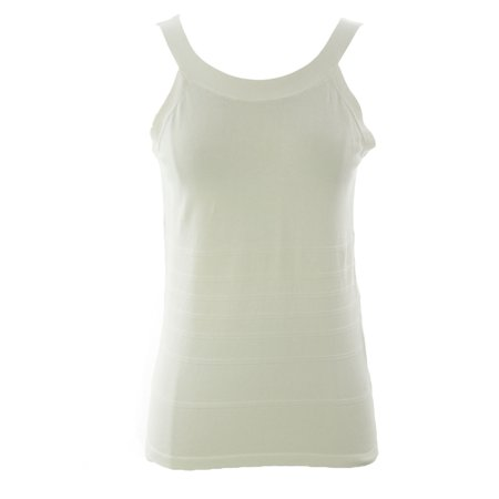 August Silk Women's Petite Back Cut-Out Ribbed Tank Top