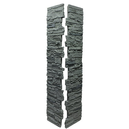 NextStone™ Faux Polyurethane Stone Split Post Cover - Rocky Mountain Graphite