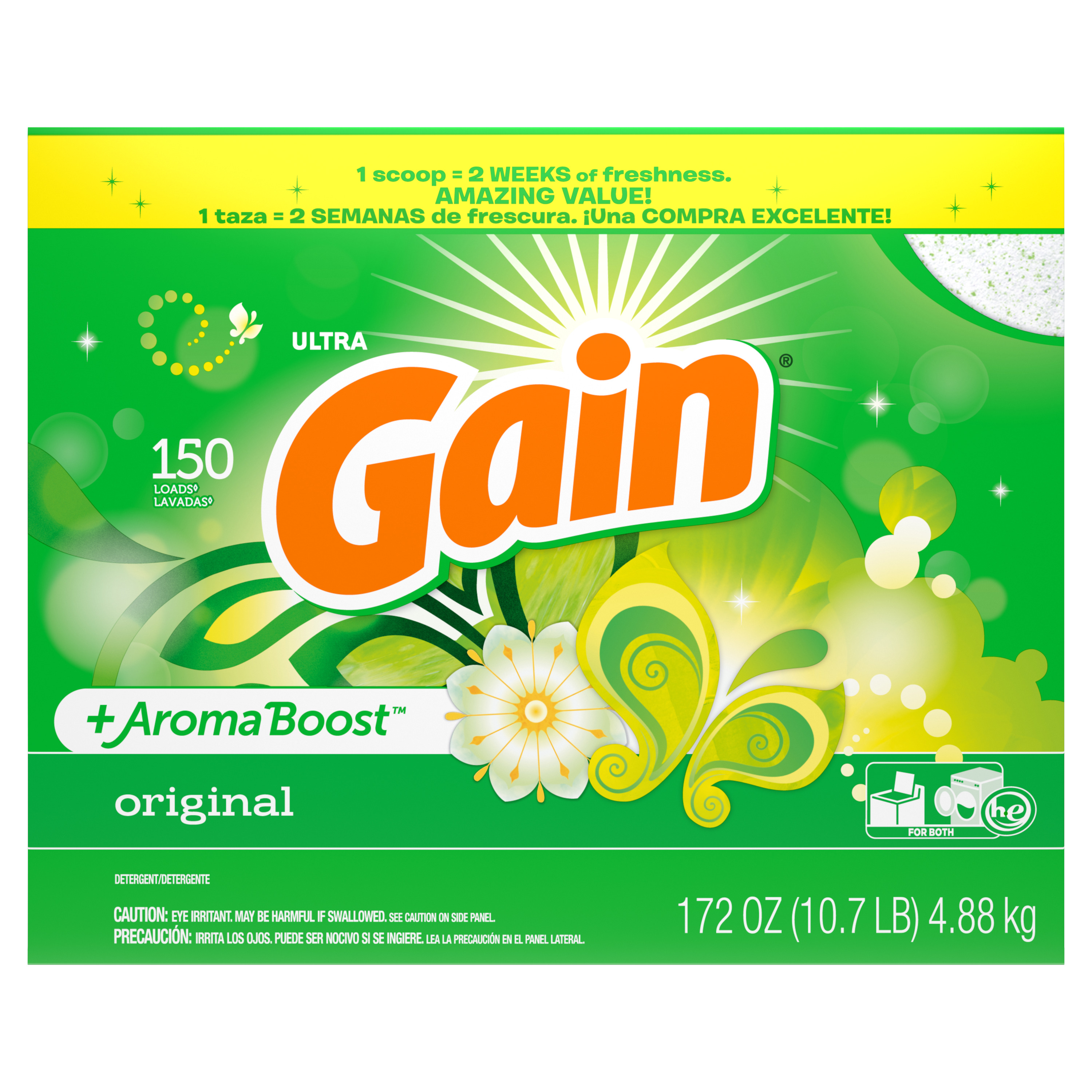 Gain Powder Laundry Detergent for Regular and HE Washers, Original Scent, 172 ounces 150 loads