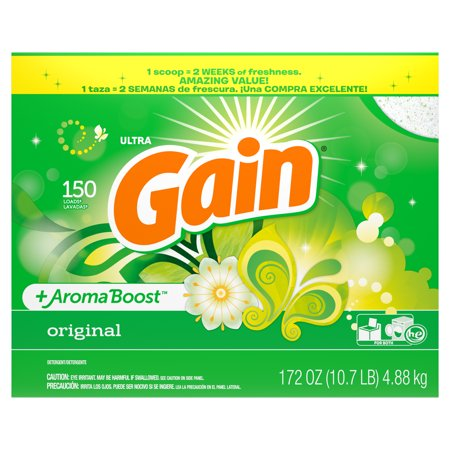 Gain Powder Laundry Detergent for Regular and HE Washers, Original Scent, 172 ounces 150