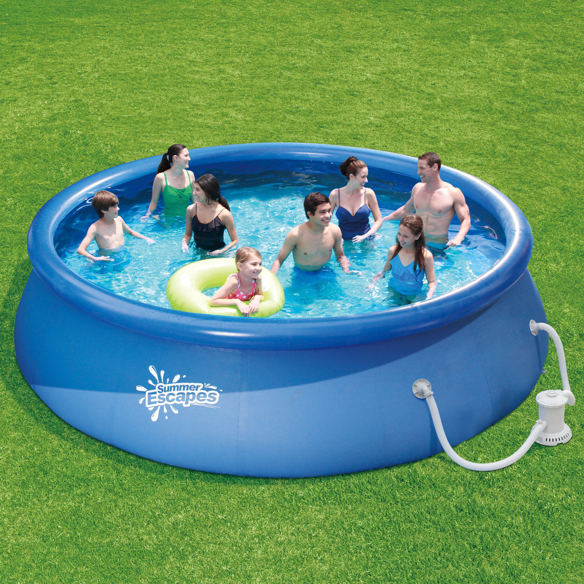 "Summer Escapes 15' x 36"" Quick Set Round Above Ground Swimming Pool with Filter Pump System"