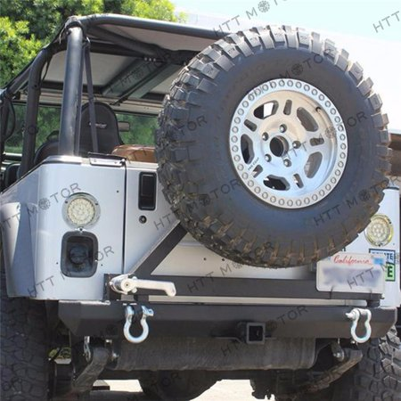 Jeep Bumper Tire Carrier - HTTMT- Rear Rock Crawler Rear Bumper &Tire Carrier Swing for 87-06 Jeep Wrangler YJ TJ