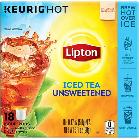 (4 Boxes) Lipton K-Cup Unsweetened Iced Tea K-Cups, 18