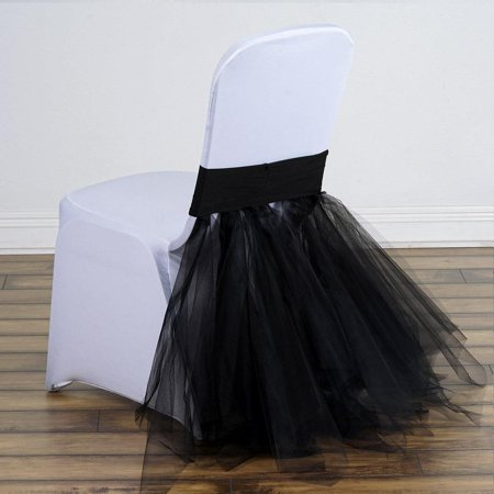 Black Bridal Wedding Party Spandex Tulle Tutu Chair Skirts