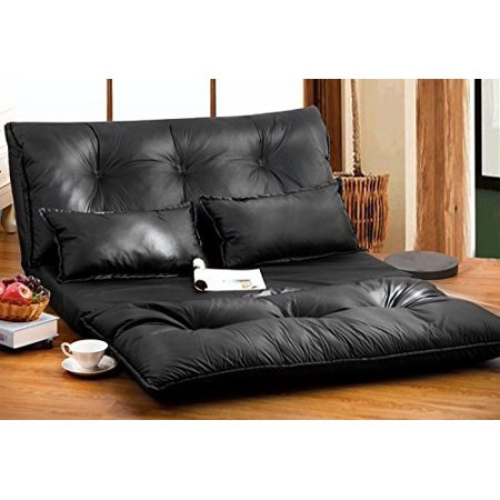 Merax Pu Leather Foldable Modern Leisure Sofa Bed Video Gaming With Two Pillows Black