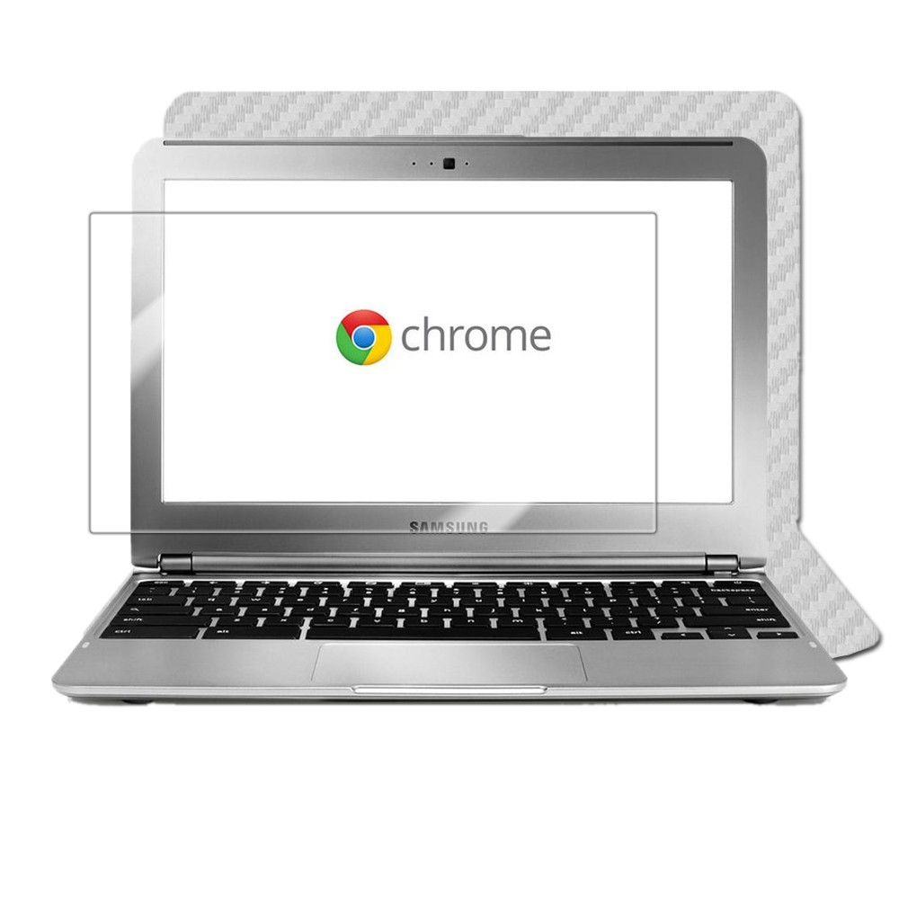 Skinomi Carbon Fiber Silver Laptop Skin+Screen Film for Samsung Chromebook 11.6""