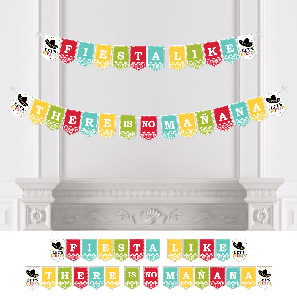 let's fiesta - mexican fiesta party bunting banner - serape party decorations - fiesta like there is no manana
